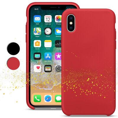 Black Premium Silicone Cover - Rubber Silicone Case for Apple iPhone X Xs Premium Slim Rugged Cover-Black/Red