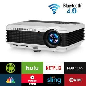 EUG Smart Video Projector Bluetooth Wireless 3900 lumens Multimedia Full HD 1080P Home Theater Projector Android 6.0 ...