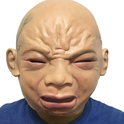 2017 Halloween Cosplay Funny Cute py Cry Baby Full Head Face Latex Mask Prop