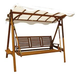 Dondolo 3posti legno di acacia tettuccio bianco arredo for Arredo giardino legno bianco
