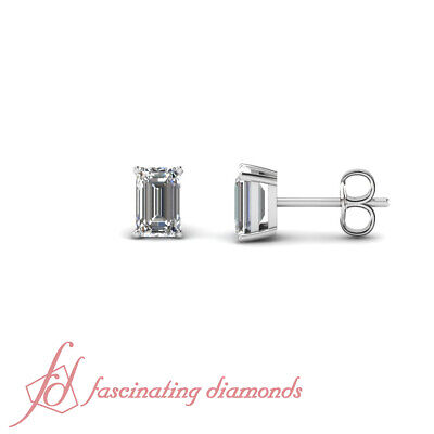 1 Ct Diamond 14k White Gold Emerald Stud Fine Diamond Earrings VVS2 GIA
