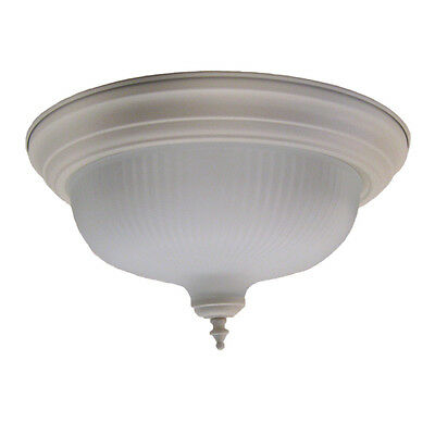 "Textured White And Frosted Ribbed Glass 15.25"" Flush Ceiling Light"