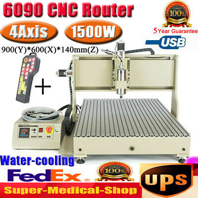 Usb 1500w 4 Axis 6090 Cnc Router Engraver Woodworking Metal Milling Machinerc