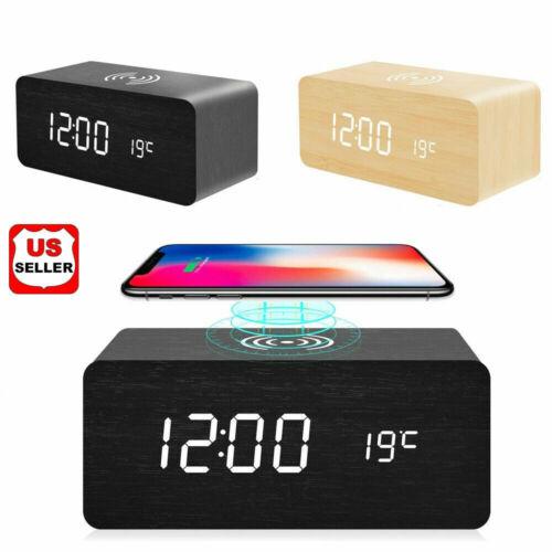 Modern Wooden Wood Digital LED Desk Alarm Clock Thermometer Qi Wireless Charger Alarm Clocks & Clock Radios