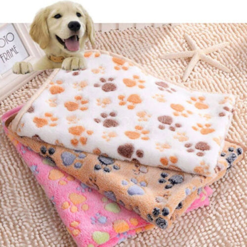 Warm Pet Blanket Mat Paw Print Cat Dog Puppy Fleece Soft Bed Cushion Cover Large Blankets