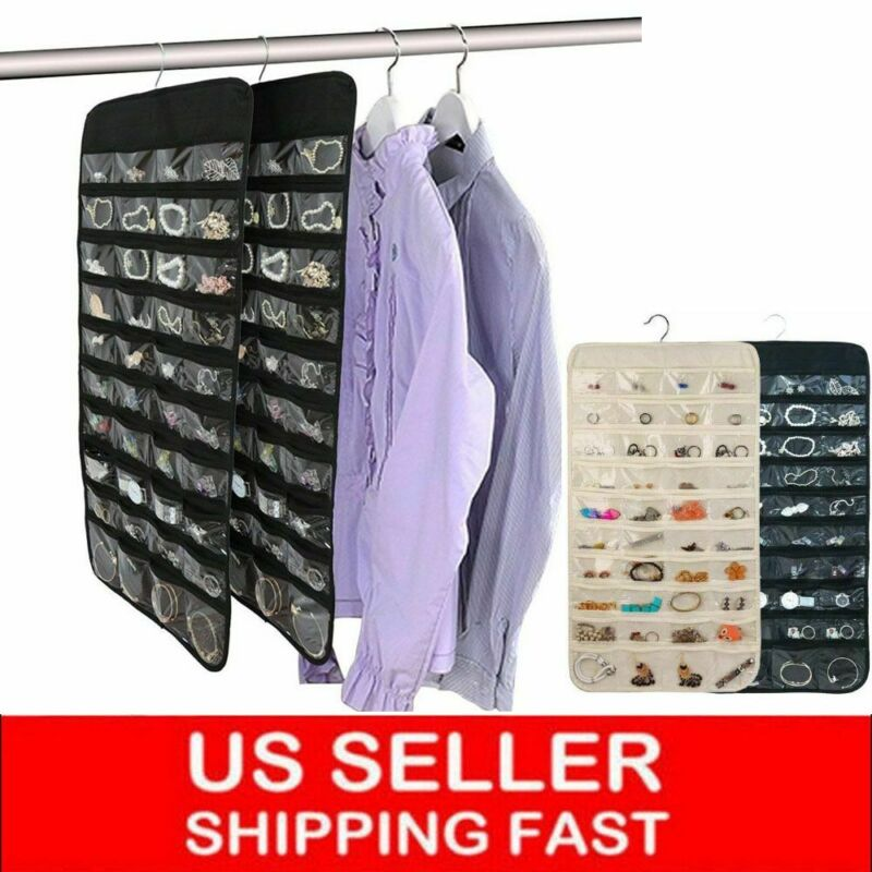 32-80 Pocket Jewelry Hanging Storage Organizer Holder Earring Display Pouch Bag