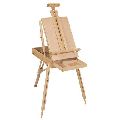 Portable Outdoor Sketch Box Oil Painting Easel With Palette Drafting Red Beech -