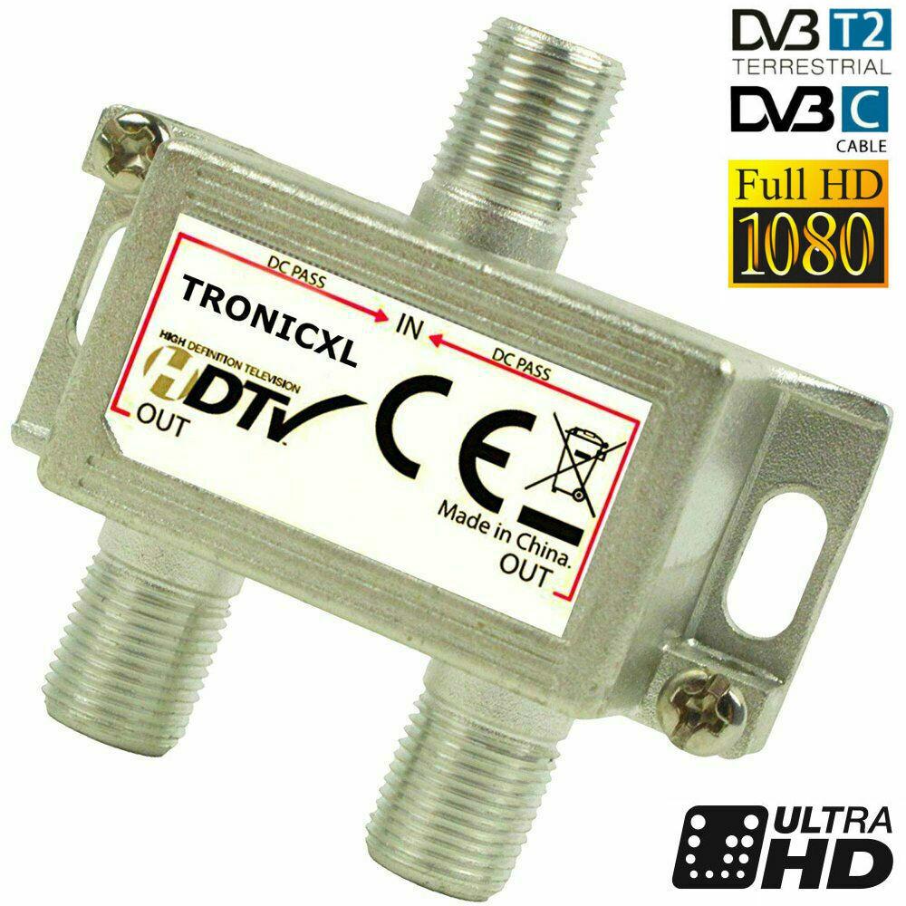 Verteiler 2-fach Splitter Weiche Digital HD TV 3D 4K Antennenverteiler SAT Kabel