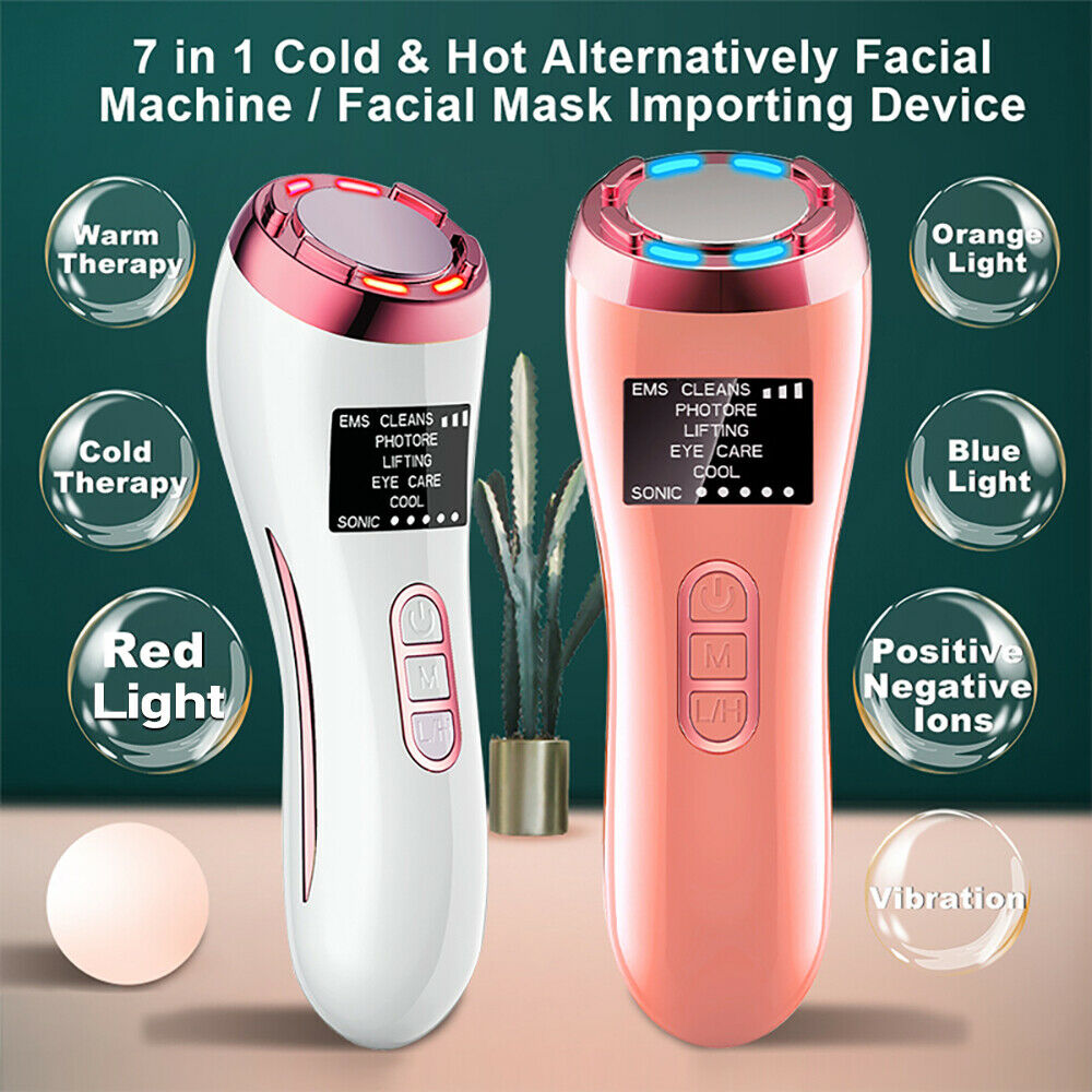 7 In 1 Ems Led Photon Hot Cool Therapy Sonic Skin Rejuvenation Wrinkle Remover Ebay