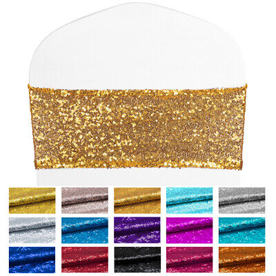100× Spandex Sequin Chair Cover Sash Bow Bands Sashes Wedding Party Banquet Xmas ()