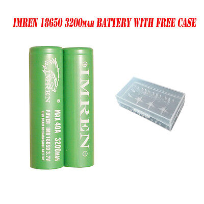 2x Imren IMR 18650 3200mAh / 40Amp 3.7v (GREEN) Flat Top Rechargeable Battery US