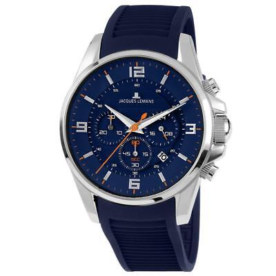 - Jacques Lemans Men's Liverpool 44mm Blue Silicone Band Quartz Watch 1-1799C