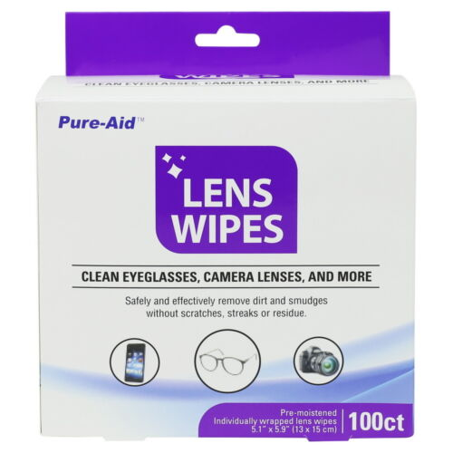 Pure-Aid Eye Glasses & Camera Lens Wipes, 100ct