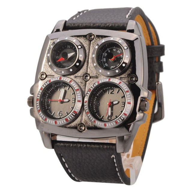 Men's Large Watch. Multi-Function Genuine Leather (Square Black) WS
