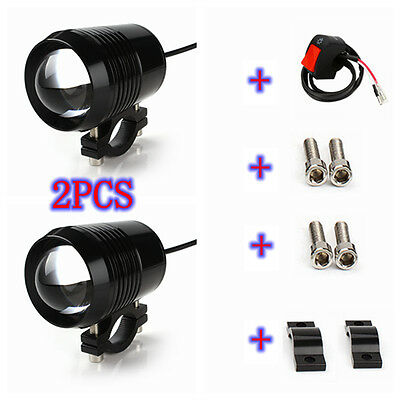2PCS 30W U2 CREE Chip LED HeadLight Motorcycle Waterproof Spot Fog Light&Switch