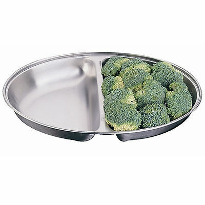 """Serving Dish Oval 10"""" Two Division Stainless Steel Vegetable Side Plate Catering"""