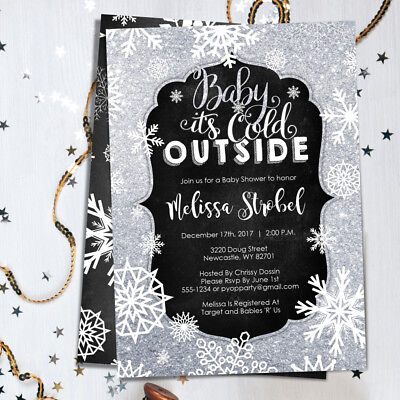 Winter Baby Shower Invitations - Baby It's Cold Outside - Winter Themed Invites - Winter Themed Baby Shower