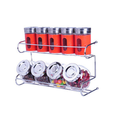 9 Canister Metal & Glass Spice Shakers Glass Jars 2 Tier Wire Rack Display  RED for sale  Shipping to India