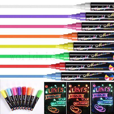 8 Liquid Chalk Pens Marker Reversible Neon Colours whiteboeard Wipe Clean 6mm