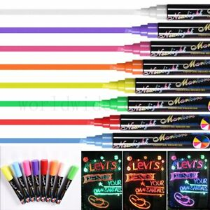 8 Liquid Chalk Pens Marker Reversible Neon Colours whiteboeard Wipe Clean 6mm