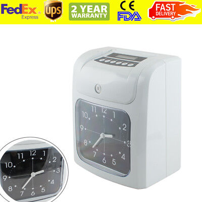 Electronic Employee Analogue Time Recorder Clock Lcd Wcard Monthlyweekly