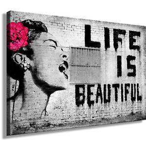 graffiti banksy bild auf leinwand street art kunstdruck wandbild k poster ebay. Black Bedroom Furniture Sets. Home Design Ideas