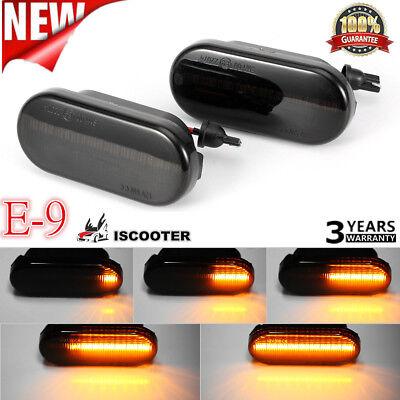 Dynamic Smoked Lens Front Fender LED Side Marker Lights For VW MK4 Jette Beetle~