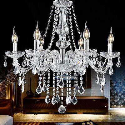 E12 Elegant Crystal Candle Decoration Chandelier Pendant Ceiling Light 6 Lamp US (Elegance 6 Light Chandelier)