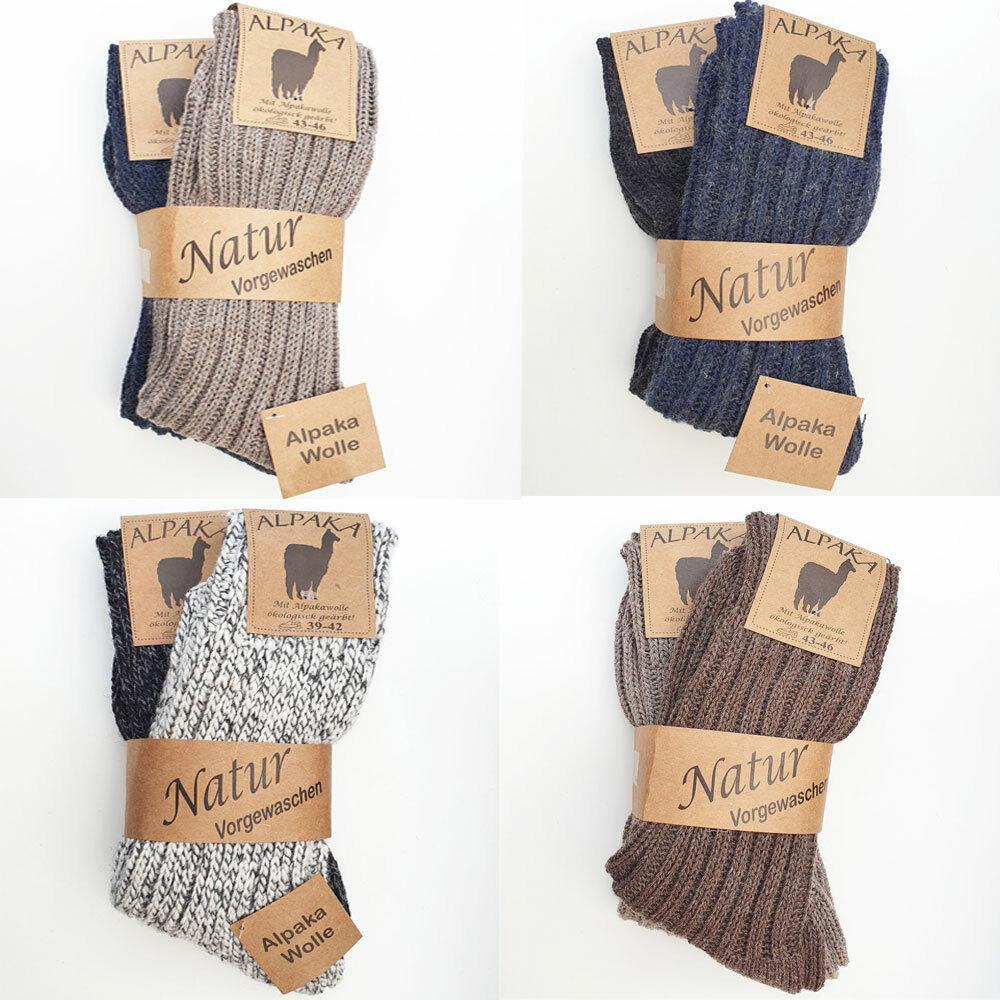 2 Paar Alpaka Socken Winter Wollsocken strick Warm Damen Herren Natur Strümpfe