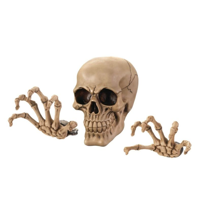 Spooky Halloween Decoration Skeleton Skull And Hands Wall Mounted Decor Set