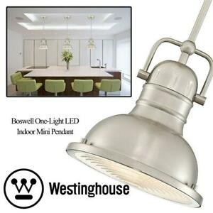 NEW Westinghouse 6334600 Boswell One-Light LED Indoor Mini Pendant, Brushed Nickel Finish with Prismatic Lens Condtio...