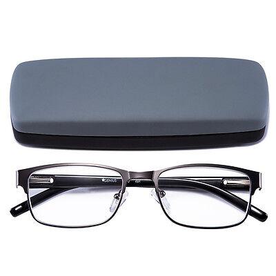 Reading Glasses Readers Metal Deluxe Rectangular gun Frame Business occasion Men