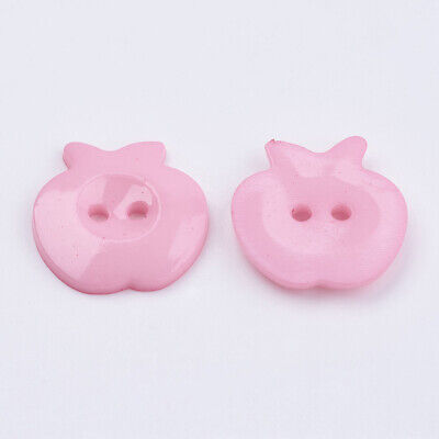 50pcs large PINK APPLE BUTTONS 21mm - sewing embellishments ideal for crafting