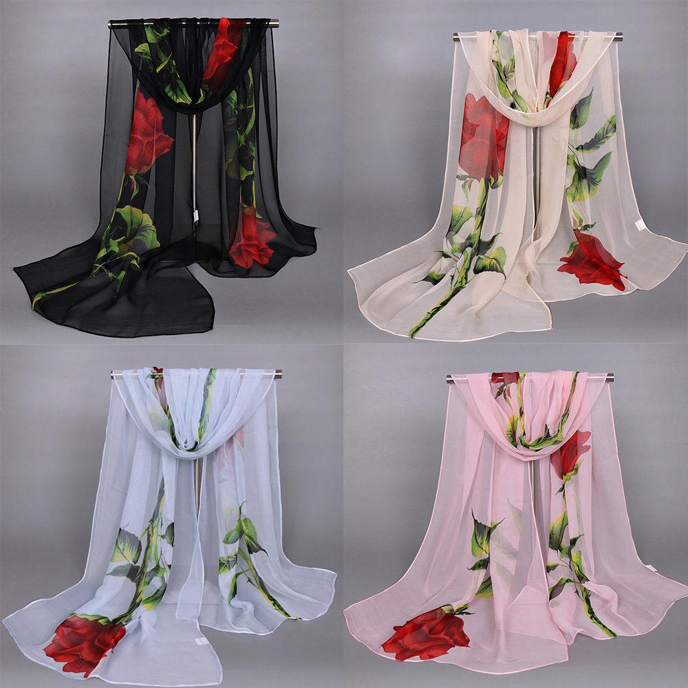 Scarf - New Women's Long Soft Wrap Lady Shawl Silk Rose Flower Print Chiffon Scarf