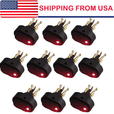 10 12v 30amp 30a Heavy Duty Red Led Offon Rocker Switch Car Boat Marine Us Hot