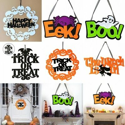 1Pcs Trick Or Treat Decor Non-woven Spooky Witch Bat Door Sign Halloween Part