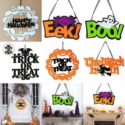Halloween Trick Or Treat Door Sign (1Pcs Trick Or Treat Decor Non-woven Spooky Witch Bat Door Sign Halloween)