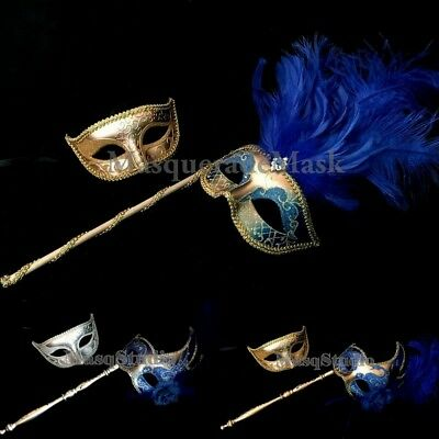 Royal Blue Masquerade Feather Stick Mask Cocktail Prom Bachelor Costume Party](Stick Girl Costume)