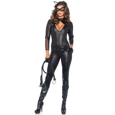 Sexy Cosplay Black Catwoman Catsuit Costume Halloween Wicked Kitty Fancy Dress