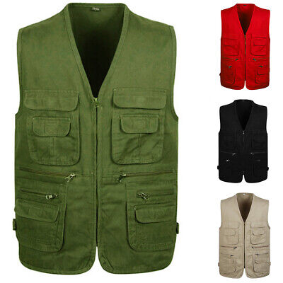 NEW Men's Multi Pocket Camera Outdoor Vest Travelers Photogr