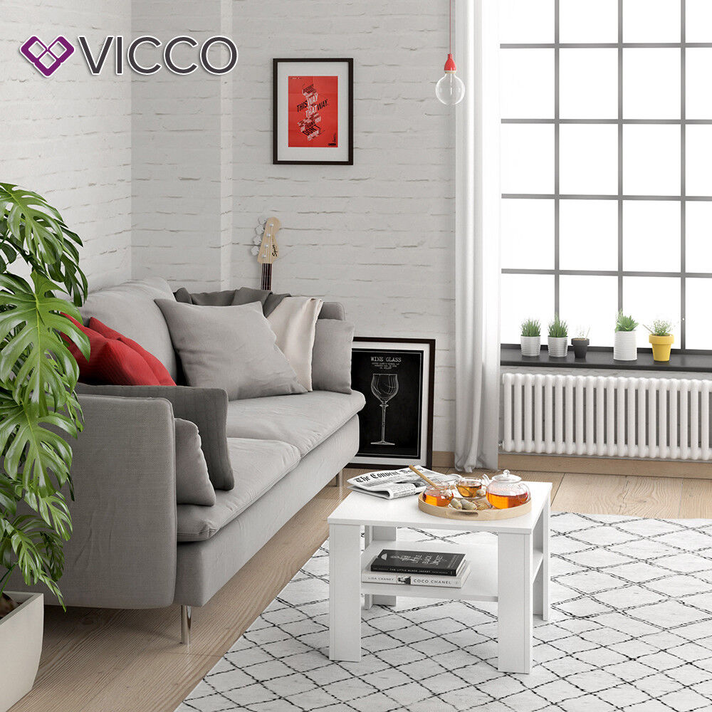 vicco couchtisch homer wei 60x60 cm wohnzimmer sofatisch kaffeetisch 4251421917729 ebay. Black Bedroom Furniture Sets. Home Design Ideas