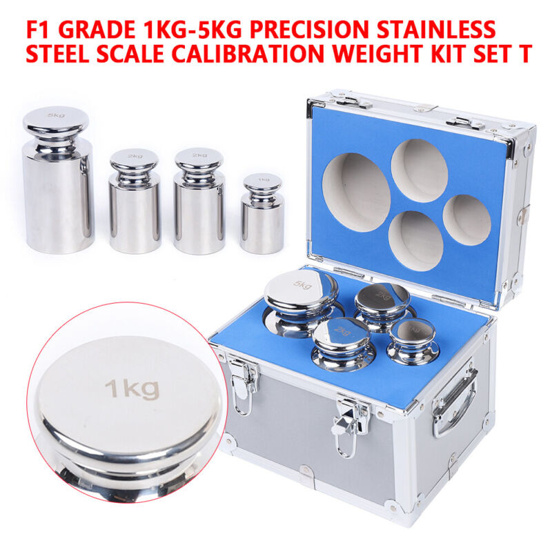 1-5kg Scale Calibration Weight Kit F1 Grade Stainless Steel for Precision Scale