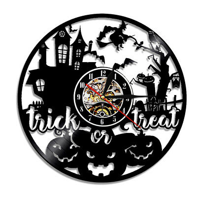 Trick or Treat Movie Theme Halloween LED Night Light Vinyl Record Wall Clock