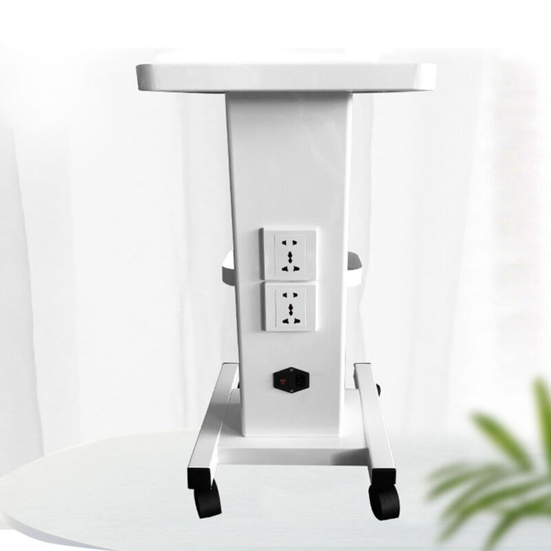 Salon Trolley with Socket Stand Rolling Cart Beauty Wheel Holder Spa Cart White