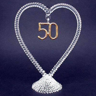 50th Fiftieth Wedding Anniversary Glass Cake Top Topper
