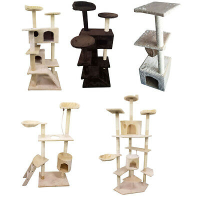 "60""/52"" Cat Tree Play House Tower Condo Furniture Scratch Post Toy Bed Pet Kitty"