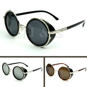Steampunk-Sunglasses-50s-Round-Glasses-Cyber-Goggles-Vintage-Retro-Style-Blinder