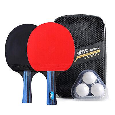 3 Balls Professional Ping Pong Racket Set 2 Table Tennis Bats Bag UK Seller