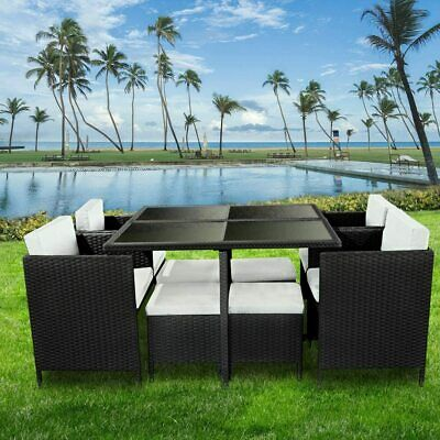 Garden Furniture - RATTAN 9 PIECES GARDEN FURNITURE SET CUBE DINING CHAIRS TABLE OUTDOOR UK STOCK