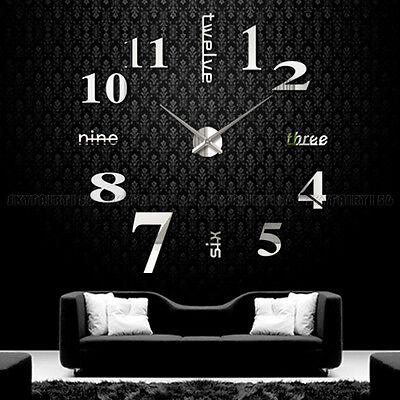 3D Modern Diy Large Number Mirror Wall Sticker Big Watch Home Decor Art Clock Us